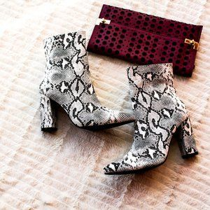 Snake Skin Stacked Heel Booties